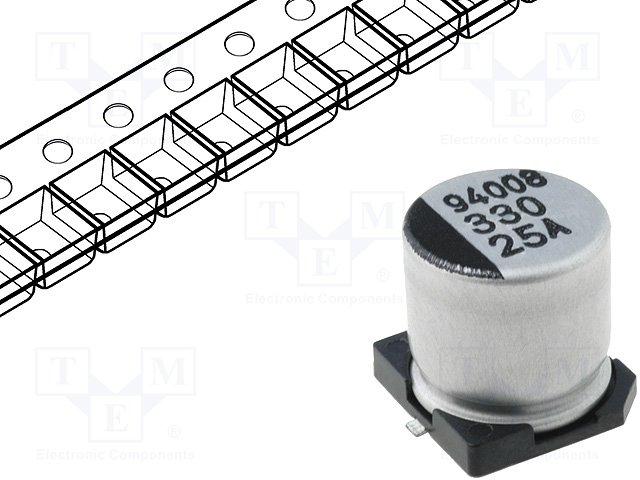 Конденсаторы электролитические SMD 105°C,SAMWHA,CA1E337M10010VR