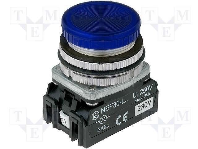 Переключатели панельные стандартные 30мм,PROMET,NEF30-LPN-24VDC