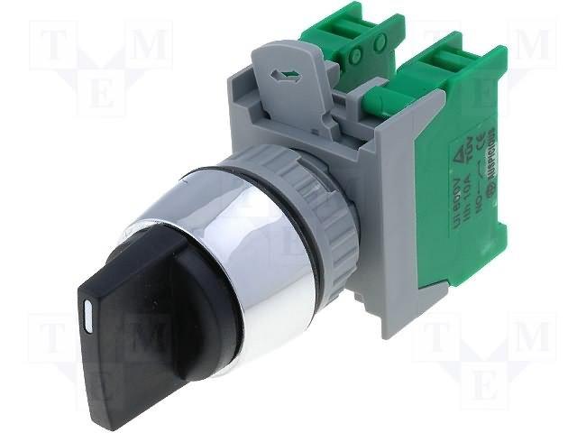 Переключатели панельные стандартные 30мм,AUSPICIOUS,SS30-2/O BK, 1-0-2 3POSITION