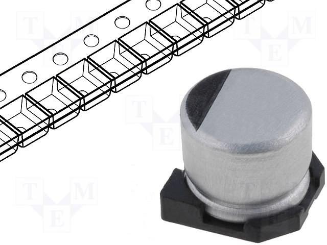 Конденсаторы электролитические SMD 105°C,TE CONNECTIVITY,TYEH1V106E55MTR