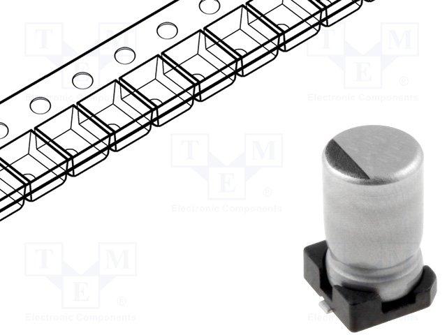 Конденсаторы электролитические SMD 105°C,NICHICON,UCB1C100MCL1GS