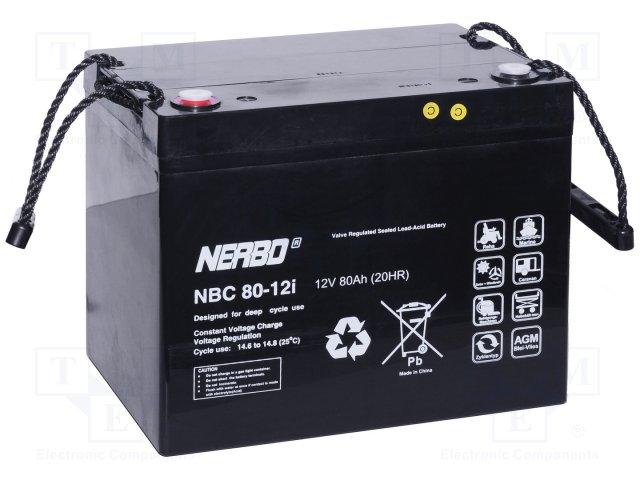 Аккумуляторы кислотные,NERBO,NBC 80-12I