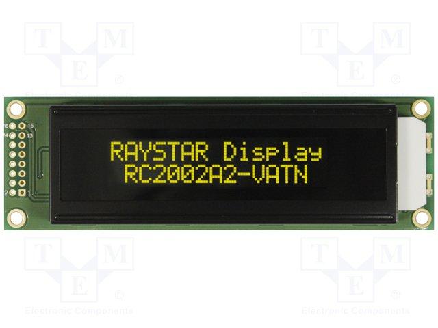 Дисплеи ЖКД буквенно-цифровые,RAYSTAR OPTRONICS,RC2002A2-LLY-JSVE