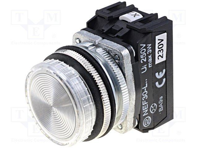 Переключатели панельные стандартные 30мм,PROMET,NEF30-LPB-230VAC