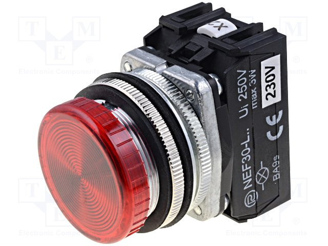 Переключатели панельные стандартные 30мм,PROMET,NEF30-LPC-230VAC