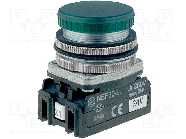 Переключатели панельные стандартные 30мм,PROMET,NEF30-LPZ-24VDC