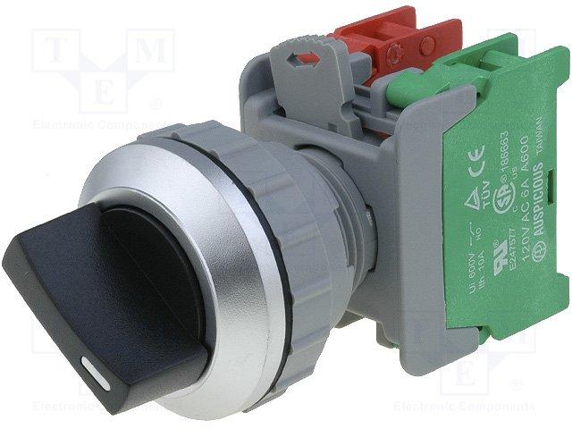 Переключатели панельные стандартные 30мм,AUSPICIOUS,SS30-1O/C BK, 1-2 2POSITION