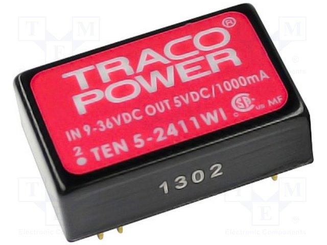 Преобразователи DC/DC,TRACO POWER,TEN 5-2413WI