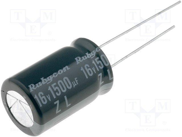 Конденсаторы электролитические THT 105°C,RUBYCON,16ZL1500M12.5X20