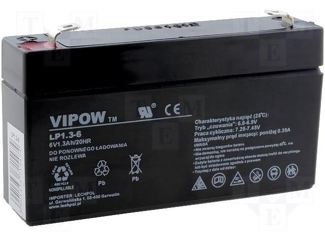 Аккумуляторы кислотные,VIPOW,ACCU-HP1.3-6