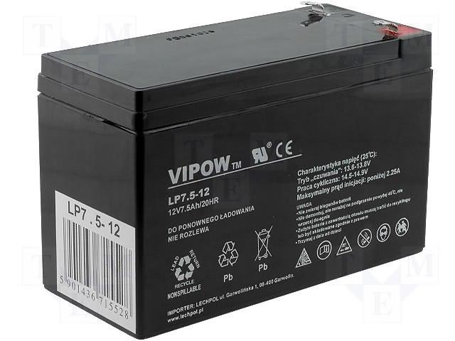 Аккумуляторы кислотные,VIPOW,ACCU-HP7.5-12