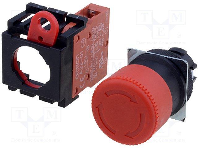 Переключатели панельные стандартные 22мм,OMRON,A22E-S-01